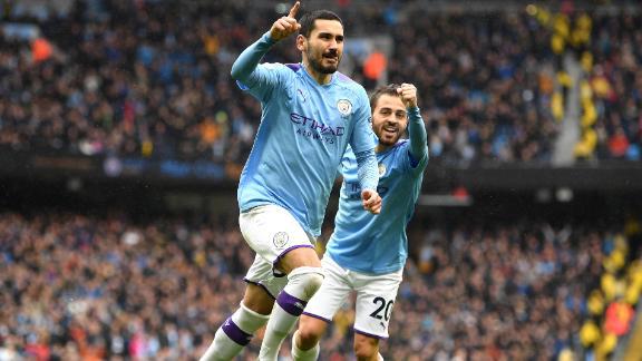 Ilkay Gundogan of Manchester City celebrates after scoring his team