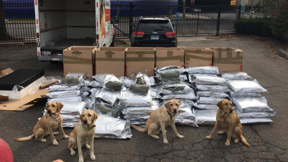 The K9 unit, after police stopped a truck on Interstate 95 loaded with marijuana