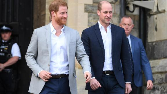 Prince Harry and Prince William walk in Windsor on May 18, 2018.