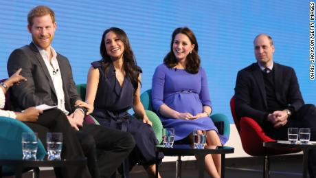 Harry, Meghan, Kate and William attend a Royal Foundation event on February 28, 2018 in London, England.