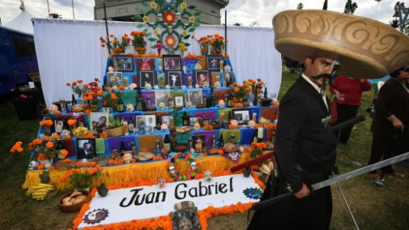 The holiday is a time to celebrate the lives of friends, family members and even celebrities who have died. This altar pays tribute to Mexican singer Juan Gabriel who died in 2016.