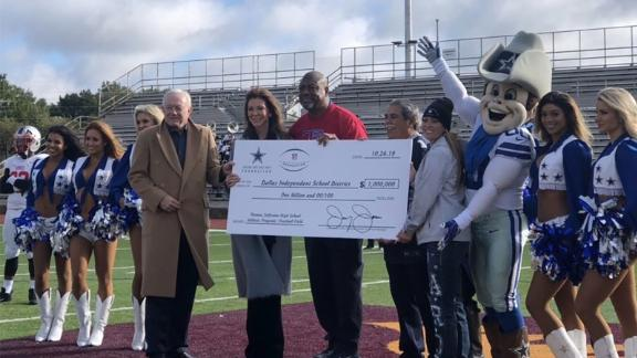 Jerry Jones and the Dallas Cowboys announced a $1 million donation to the Dallas Independent School District on Saturday.