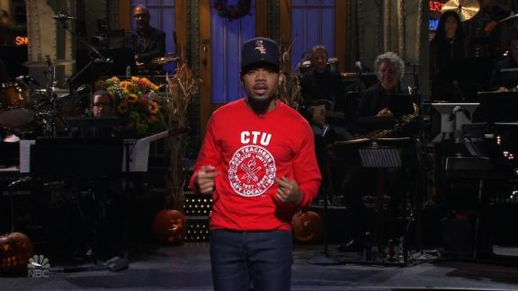 Chance the Rapper showed support for the Chicago teachers on strike by wearing a Chicago Teacher