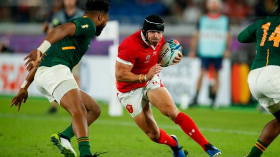 Wales' full back Leigh Halfpenny on the attack against South Africa.