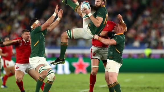 South Africa's RG Snyman wins a high ball against Wales.