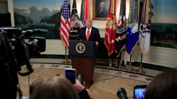 President Donald Trump speaks in the Diplomatic Room of the White House, Sunday, Oct. 27, 2019, in Washington. (AP Photo/Manuel Balce Ceneta)
