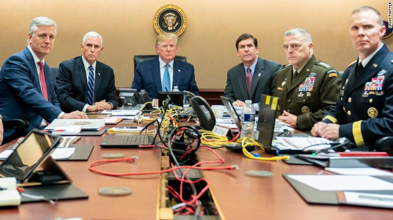 "This was tweeted from Dan Scavino with the caption: ""President Trump is joined by VP Mike Pence, National Security Advisor Robert O'Brien, left; Secretary of Defense Mark Esper and Chairman of the Joint Chiefs of Staff U.S. Army General Mark A. Milley, and Brig. Gen. Marcus Evans, Deputy Director for Special Operations on the Joint Staff, at right, Saturday, Oct. 26, 2019, in the Situation Room of the White House monitoring developments as U.S. Special Operations forces close in on notorious ISIS leader Abu Bakr al-Baghdadi's compound in Syria."
