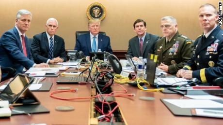 "This was tweeted from Dan Scavino with the caption: ""President Trump is joined by VP Mike Pence, National Security Advisor Robert O'Brien, left; Secretary of Defense Mark Esper and Chairman of the Joint Chiefs of Staff U.S. Army General Mark A. Milley, and Brig. Gen. Marcus Evans, Deputy Director for Special Operations on the Joint Staff, at right, Saturday, Oct. 26, 2019, in the Situation Room of the White House monitoring developments as U.S. Special Operations forces close in on notorious ISIS leader Abu Bakr al-Baghdadi's compound in Syria with a mission to kill or capture the terrorist."""