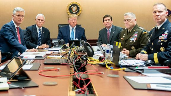 "This was tweeted from Dan Scavino with the caption: ""President Trump is joined by VP Mike Pence, National Security Advisor Robert O"