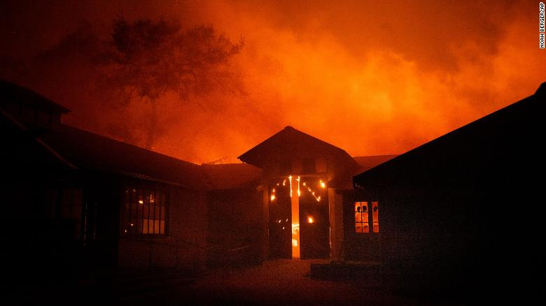 Flames from the Kincade Fire consume Soda Rock Winery on Sunday.