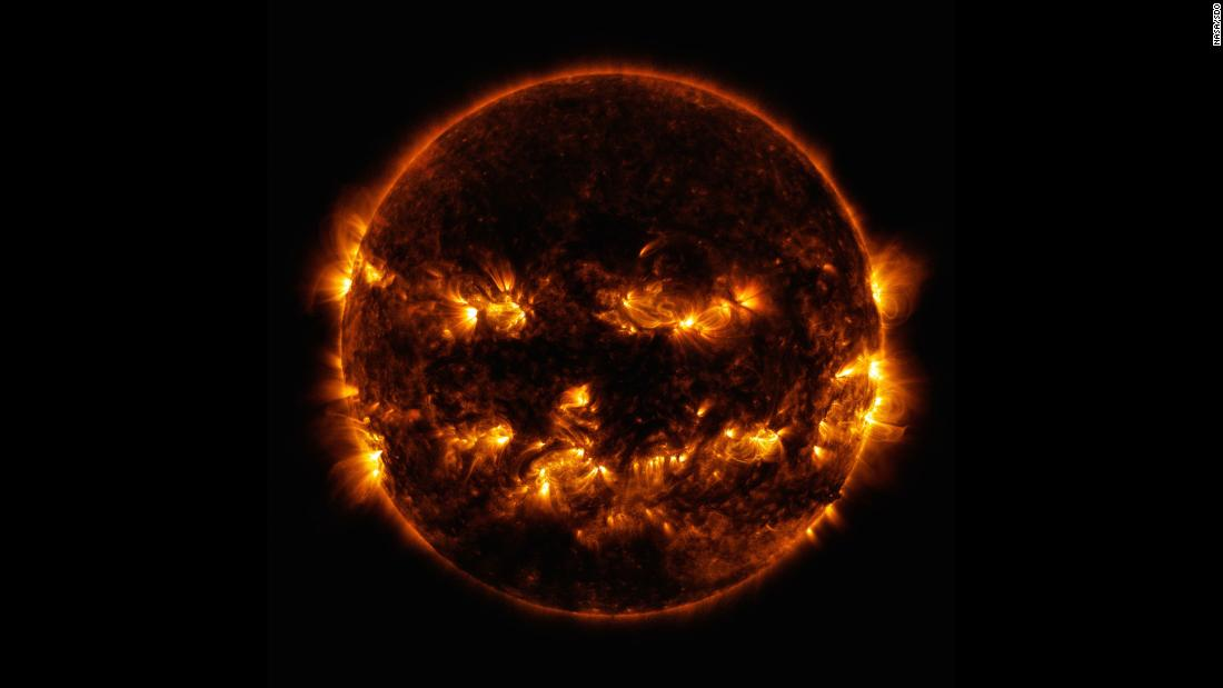 NASA posts a photo of the sun looking like a giant flaming jack-o'-lantern