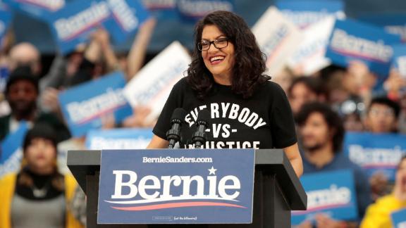 US Representative Rashida Tlaib attends a campaign rally for Democratic 2020 U.S. presidential candidate Senator Bernie Sanders in Detroit, Michigan, U.S. October 27, 2019.   REUTERS/Rebecca Cook