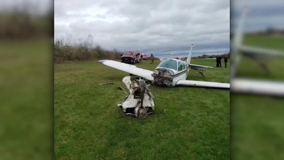The plane reportedly crashed while taking off from the LeRoy airport.