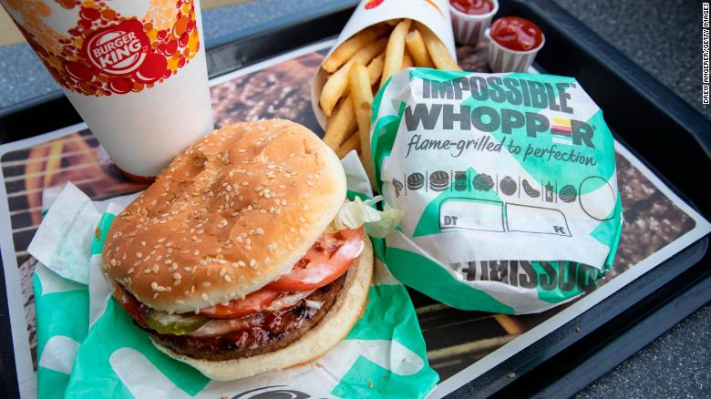 Food chains like Burger King have launched plant-based burgers.