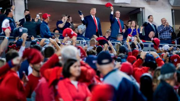"""US President Donald Trump attended Game 5 in Washington. He received some cheers as he appeared on the video screen, but he was also booed loudly. There were later chants of """"lock him up."""""""