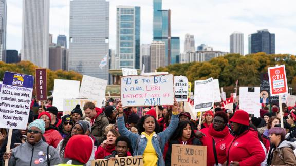 Chicago students rallied in solidarity with striking teachers Friday.