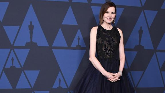 Geena Davis arrives at the Academy Of Motion Picture Arts And Sciences