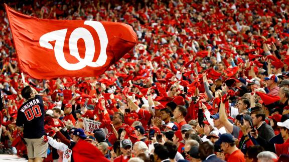 Nationals fans cheer during Game 3. It was the first World Series game in Washington since 1924. The Nationals didn't exist then.