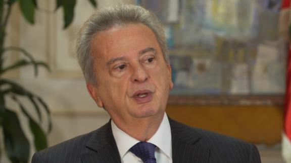 A screenshot of Riad Salame, Governor of the Central Bank of Lebanon, taken from his interview with CNN