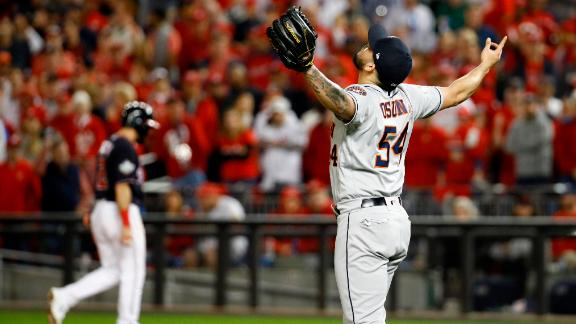 Houston closer Roberto Osuna celebrates after getting the final out in the Astros' 4-1 victory in Game 3.