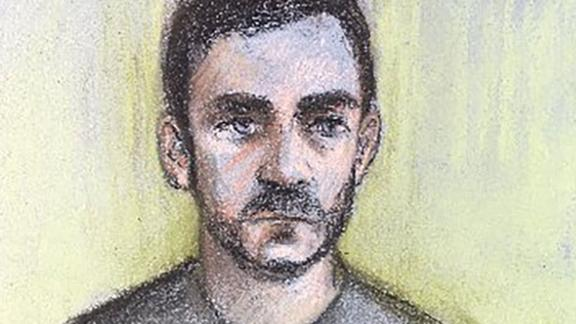 Court sketch of Maurice Robinson court appearance at Chelmsford, Essex, UK