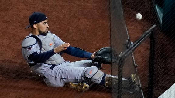 Houston catcher Robinson Chirinos slides for a foul ball during Game 4, but he was unable to make the catch.