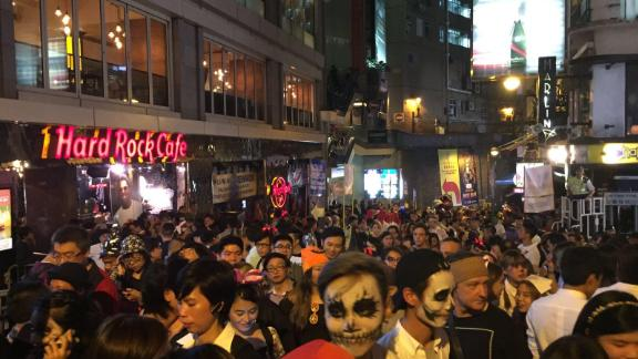 People fill the streets in Lan Kwai Fong on Halloween in 2016.