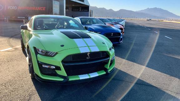 My test drive of the Ford's new Shelby GT500 started out in the parking lot of the Las Vegas Motor Speedway.