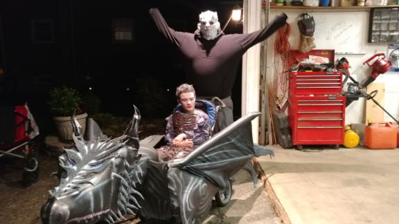 """Tommy and Tom (dressed as the Night King from """"Game of Thrones"""") often dress as a duo for Halloween, with Tom pushing his son's costume."""