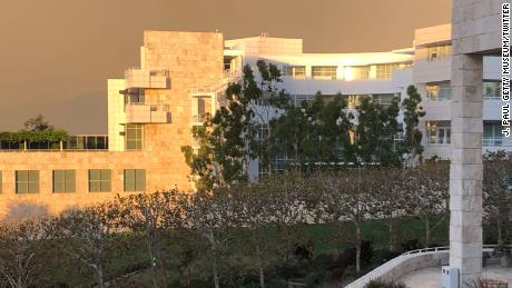 The Museum of the Center of J. Paul Getty in the Orange Lights of Southern California Fires.