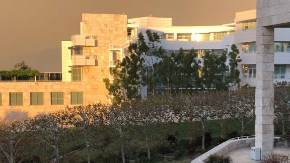The J. Paul Getty Center Museum in the orange glow of wildfires in southern California.