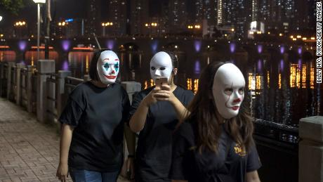 Protesters in Hong Kong wearing a mask on 18 October 2019, contrary to the government ban on face masks in public assemblies.
