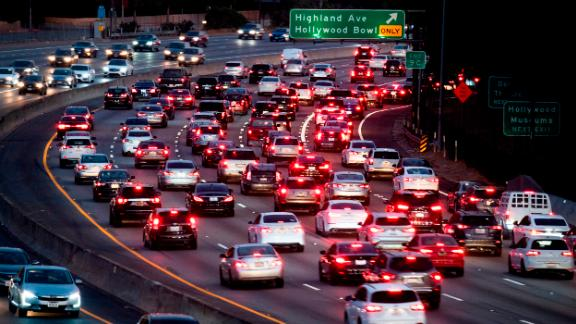 Motor vehicles drive on the 101 freeway in Los Angeles, California on September 17, 2019. - US President Donald Trump is expected to revoke a decades-old rule that empowers California to set tougher car emissions standards than those required by the federal government. (Photo by Robyn Beck / AFP)        (Photo credit should read ROBYN BECK/AFP/Getty Images)
