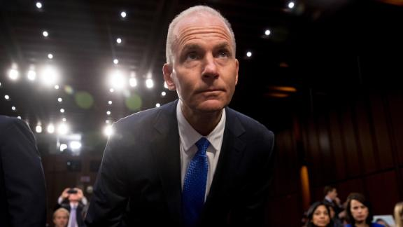 Boeing Company President and Chief Executive Officer Dennis Muilenburg arrives to testify before a Senate Transportation Committee hearing on
