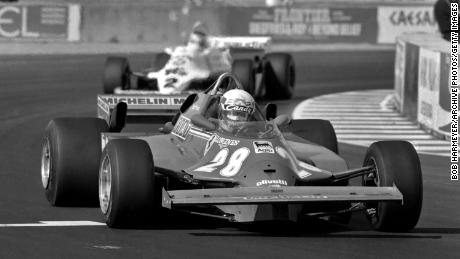 Didier Pironi races for Ferrari ahead of Carlos Reutemann in the Williams during the 1981 Caesar's Palace Grand Prix.