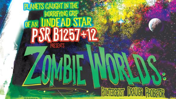 Three zombie worlds orbit the core of an exploded star that lashes out with radiating pulses in a new NASA poster.