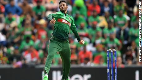 Shakib Al Hasan bowls during the Group Stage match of the ICC Cricket World Cup 2019 between Bangladesh and South Africa.