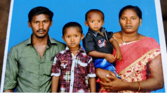 Handout photo of Sujith Wilson (center-right) and his family.