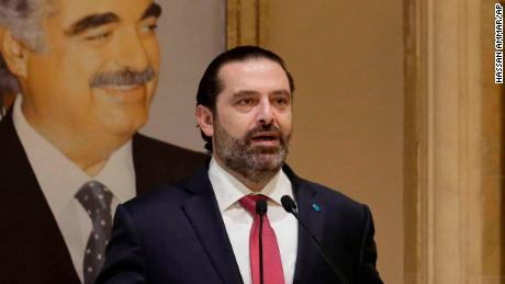 "Lebanese Prime Minister Saad Hariri speaks during an address to the nation in Beirut, Lebanon, Tuesday, Oct. 29, 2019. Lebanon's embattled prime minister says he is presenting his resignation to the president after he hit a ""dead end"" amid nationwide anti-government protests. (AP Photo/Hassan Ammar)"