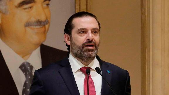"Lebanese Prime Minister Saad Hariri speaks during an address to the nation on October 29. ""I can"