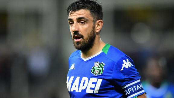 Francesco Magnanelli of  Sassuolo looks on during the Serie A match between Parma Calcio and US Sassuolo on September 25.