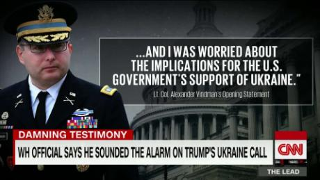 White House NSC official says he sounded the alarm after Trump's Ukraine call