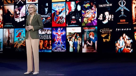 Ann Sarnoff, Chair & Chief Executive Officer of Warner Brothers, speaks onstage at HBO Max WarnerMedia Investor Day. (Photo by Presley Ann/Getty Images for WarnerMedia)
