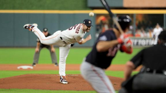 Astros starter Justin Verlander delivers a pitch in the first inning of Game 6. Verlander, one of the most dominant pitchers of his generation, fell to 0-6 in seven World Series starts.