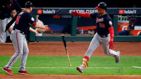Soto carried his bat toward first base and dropped it after his home run in Game 6. He was mimicking Astros player Alex Bregman, who did it earlier in the game.