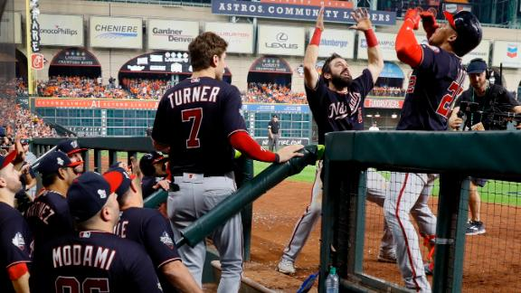 Soto is congratulated by Eaton after hitting a home run to give the Nationals the lead in Game 6.