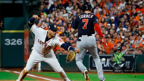 The controversial play came as Turner was running to first to beat a groundout. Houston first baseman Yuli Gurriel lost his glove and was unable to make the catch. The umpire said Turner interfered with Gurriel. The Nationals were irate.