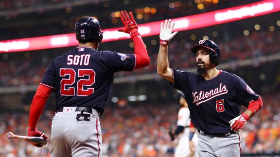 Washington third baseman Anthony Rendon is congratulated by Juan Soto after Rendon hit a two-run home run in Game 6 on Tuesday, October 29. Rendon had 5 RBIs in the Nationals' 7-2 victory.