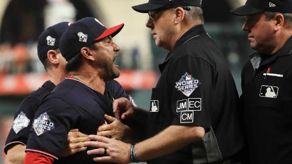 Washington manager Dave Martinez argues with umpire Gary Cederstrom as he is ejected in Game 6. Martinez was upset when Trea Turner was called out for runner interference.