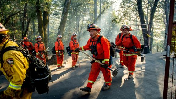 Inmate firefighters battle the Kincade Fire near Healdsburg, California, on Tuesday, October 29.